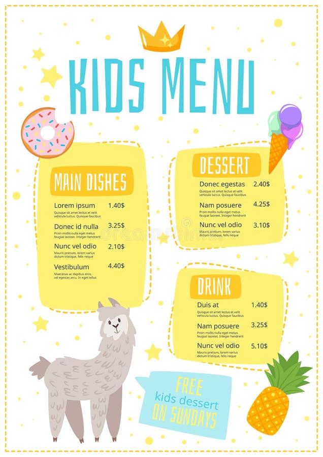Molde da refeição do menu de crianças ilustração stock
