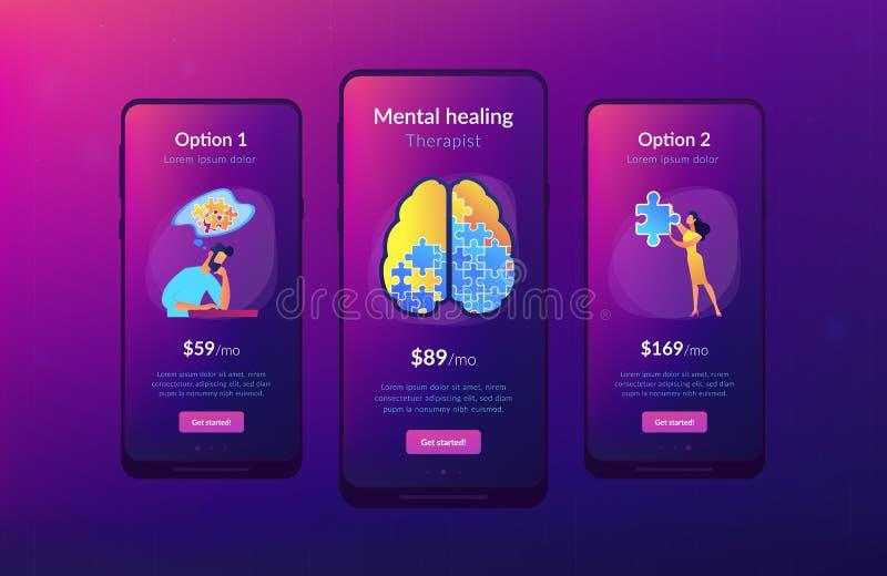 Molde da relação do app da psicoterapia e da psicologia ilustração stock