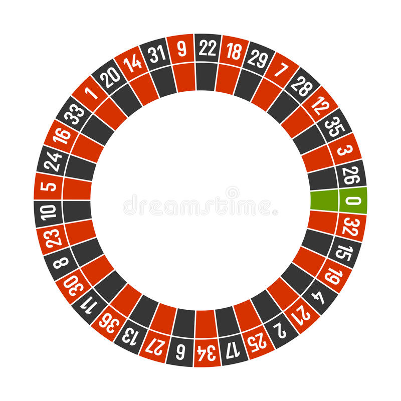 Molde da roda do casino da roleta com zero no fundo branco Vetor ilustração stock