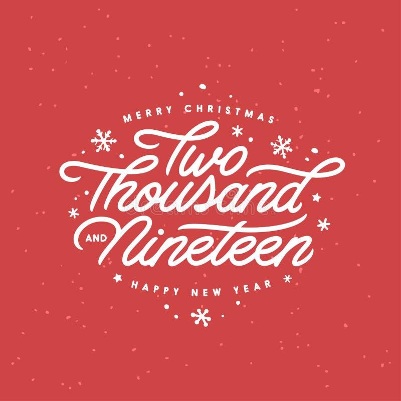 Molde da rotulação do Feliz Natal e do ano novo feliz Dois mil dezenove Ilustração do vintage do vetor ilustração stock