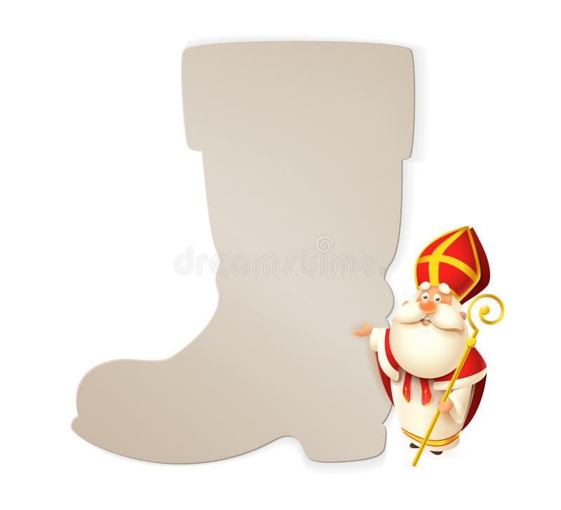 Molde da São Nicolau e do cartaz da bota isolado no fundo branco - ilustração do vetor ilustração royalty free