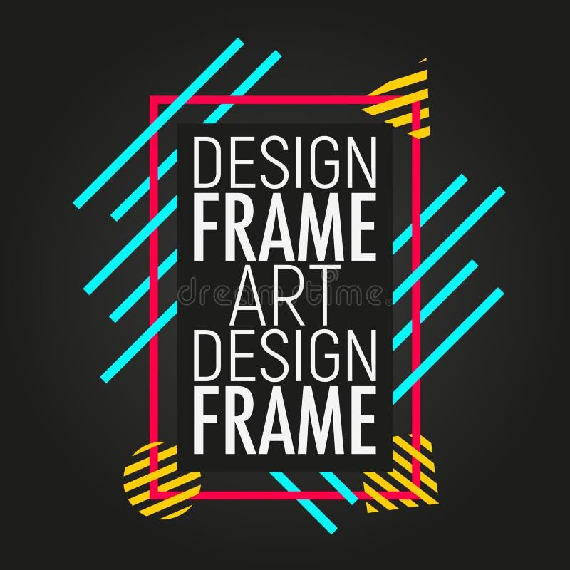 Molde da tampa colorida Quadro moderno para o texto com formas geométricas Projeto mínimo na moda ilustração royalty free