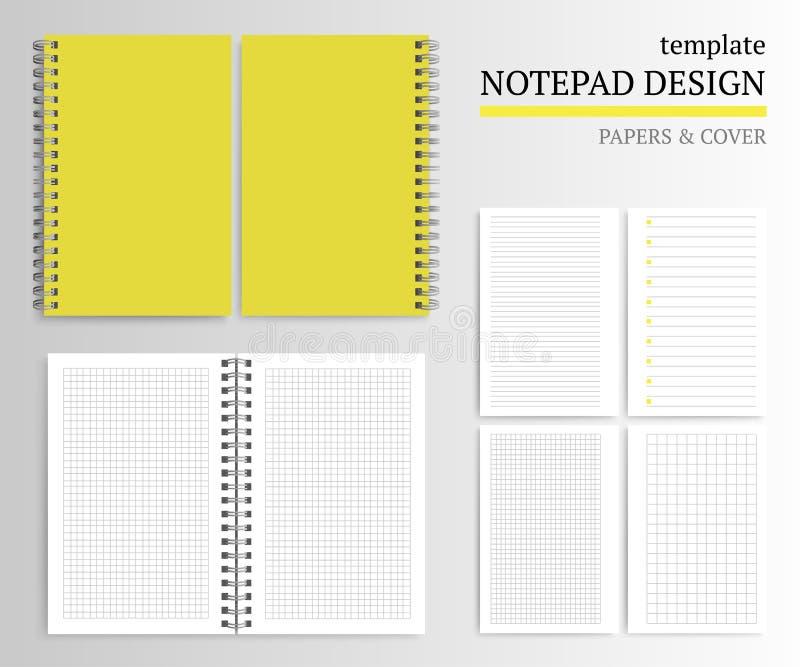 Molde da tampa e dos papéis do caderno ilustração do vetor
