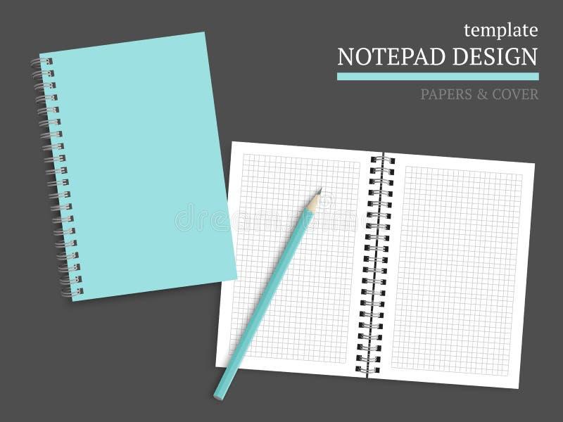 Molde da tampa e dos papéis do caderno ilustração stock