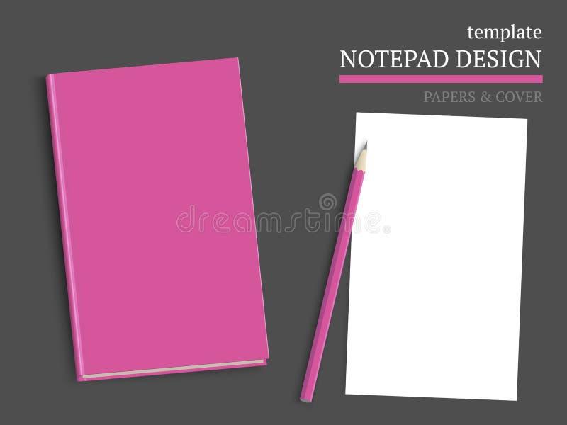 Molde da tampa e dos papéis do caderno ilustração royalty free
