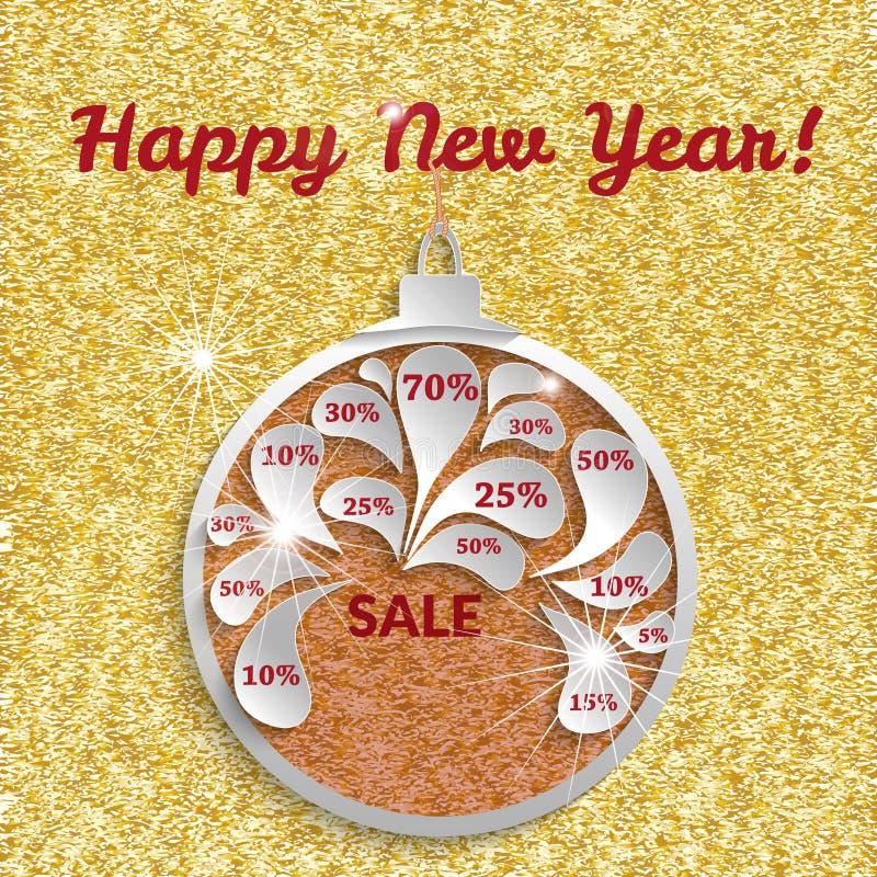Molde da venda do ano novo para o projeto da bandeira ou dos insetos As bolas do Natal com preços com desconto de um ouro texture ilustração do vetor