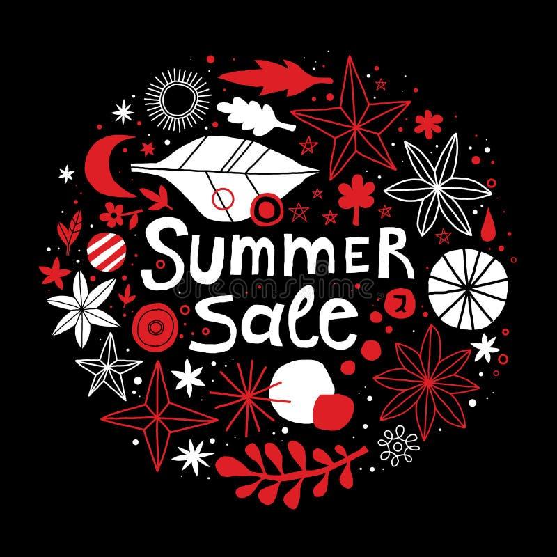 Molde da venda do verão com flores e mão abstrata elementos tirados Pode ser usado anunciando, projeto gráfico ilustração stock