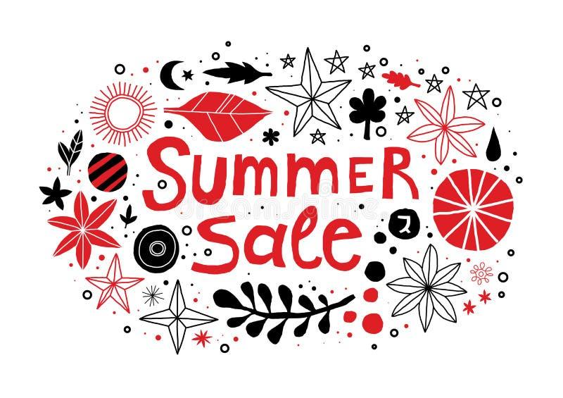 Molde da venda do verão com flores e mão abstrata elementos tirados Pode ser usado anunciando, projeto gráfico ilustração do vetor