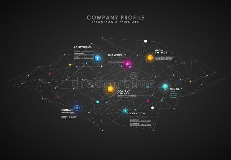 Molde da vista geral do perfil da empresa com círculos coloridos ilustração stock