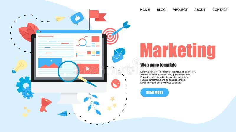Molde da Web Conceito para a ag?ncia de mercado de Digitas, ilustra??o lisa do vetor da campanha digital dos meios ilustração stock