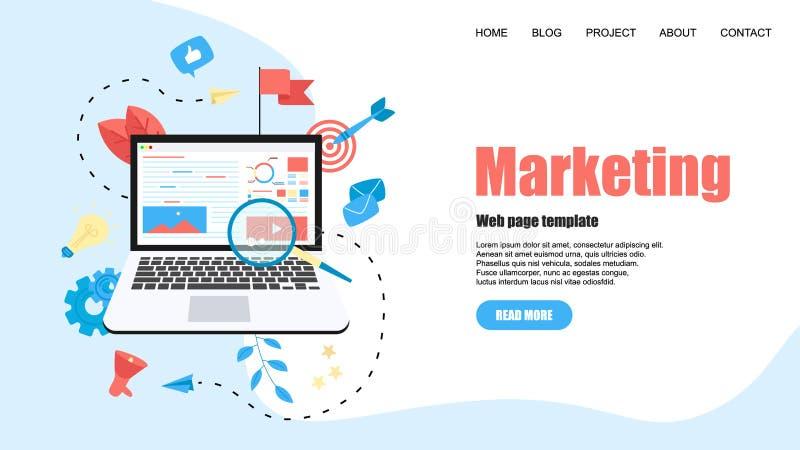 Molde da Web Conceito para a ag?ncia de mercado de Digitas, ilustra??o lisa do vetor da campanha digital dos meios ilustração do vetor