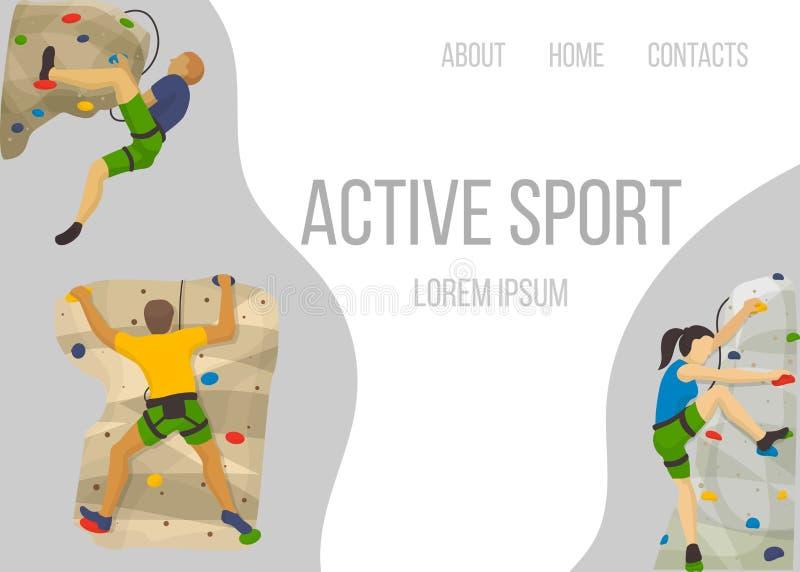 Molde da Web do vetor do esporte do alpinismo As escaladas dos montanhistas balançam a parede e caráteres extremos do alpinista d ilustração royalty free