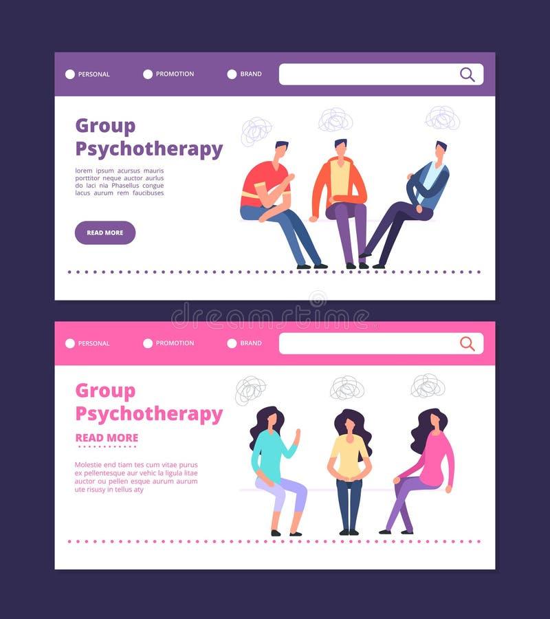 Molde das bandeiras da Web da psicoterapia do grupo Homem e páginas fêmeas da aterrissagem do vetor da terapia do grupo ilustração do vetor
