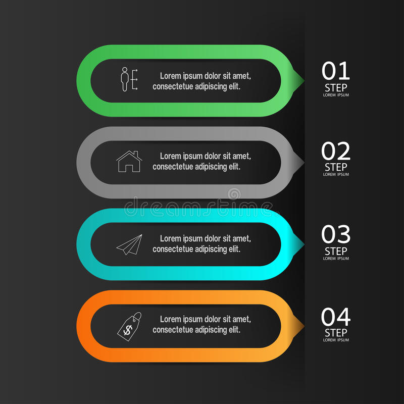 Molde das bandeiras do número do infographics do projeto gráfico ou Web site ilustração stock