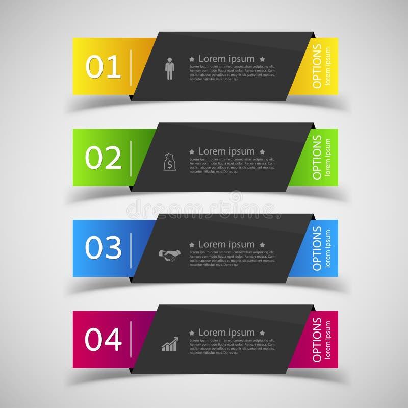 Molde das bandeiras do número do infographics do projeto gráfico ou Web site ilustração royalty free