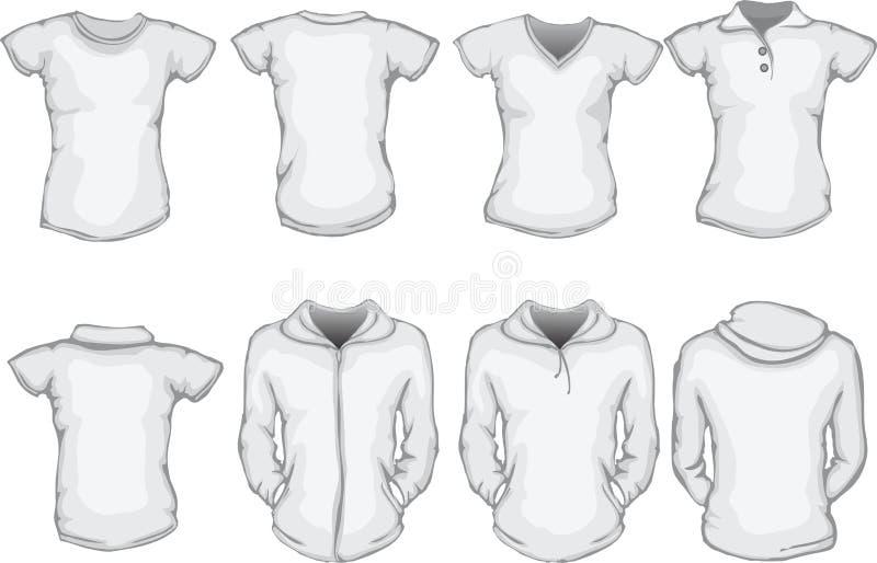 Molde das camisas das mulheres no branco ilustração royalty free