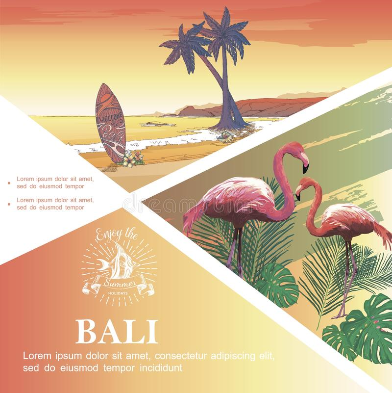 Molde das férias de Bali do esboço ilustração stock