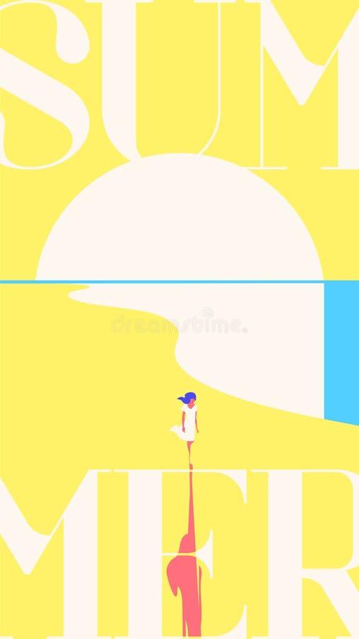 Molde das histórias das férias de verão e do acampamento de verão Por do sol do mar, menina que anda na praia Fundo amarelo ilustração stock