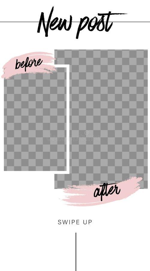 Molde das hist?rias Antes e depois Modelo para a foto isolada no fundo transparente ilustração stock