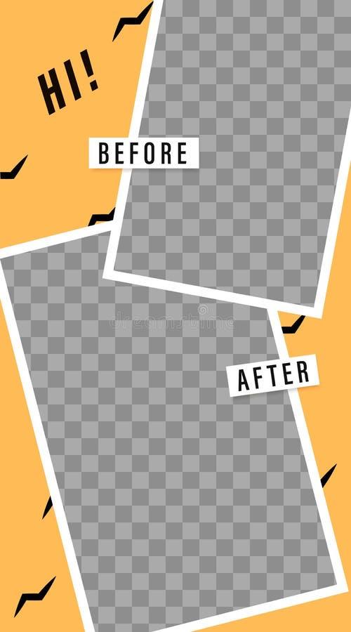 Molde das hist?rias Antes e depois Modelo para a foto isolada no fundo transparente ilustração royalty free