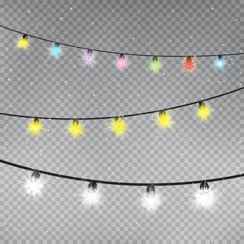 Molde das lâmpadas do floco de neve da cor do Natal ilustração do vetor