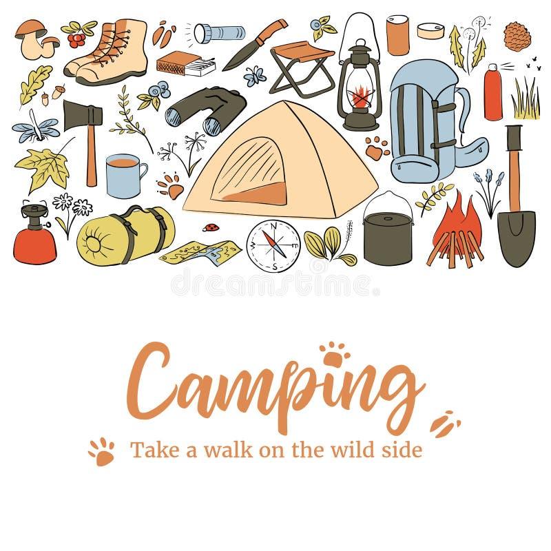 Molde de acampamento do cart?o Tome uma caminhada no lado selvagem Caminhar ?cones coloriu o grupo do estilo do esbo?o Cole??o do ilustração royalty free