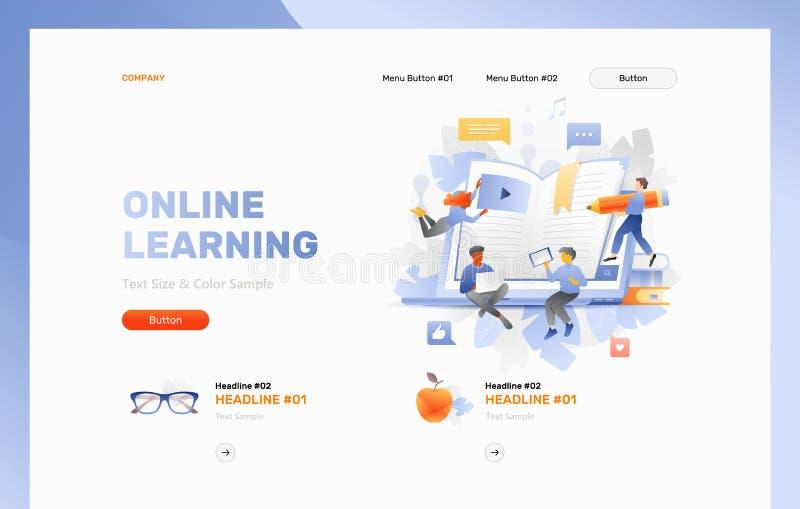 Molde de aprendizagem em linha do encabeçamento da Web ilustração royalty free