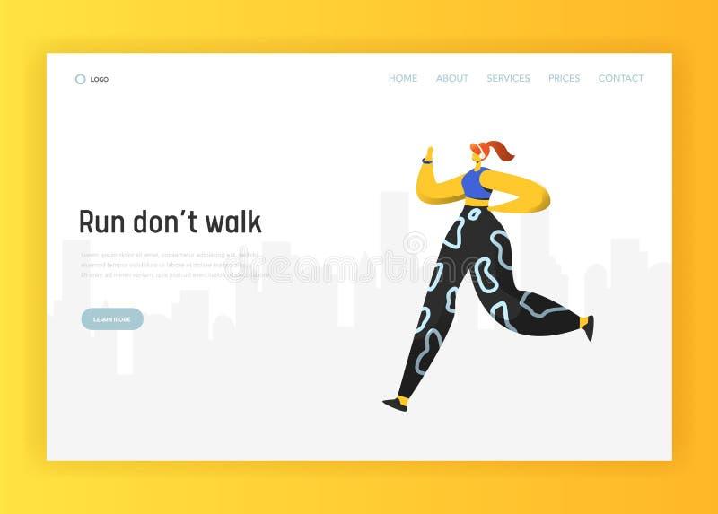 Molde de aterrissagem de corrida da página dos povos workout ilustração royalty free