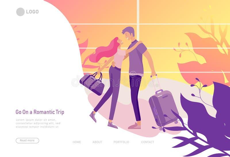 Molde de aterrissagem da página com relacionamento feliz do amante, cenas com os pares românticos que datam em linha o beijo, ape ilustração do vetor