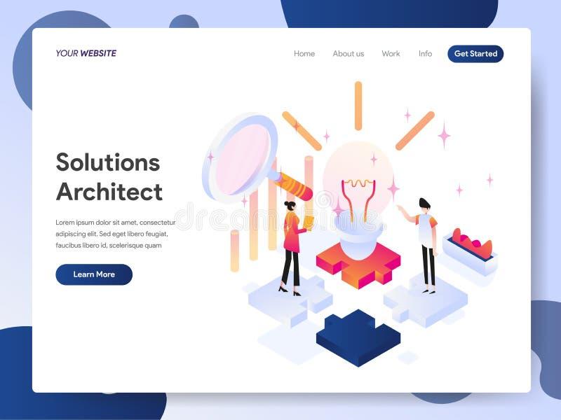 Molde de aterrissagem da página do arquiteto Isometric Illustration Concept das soluções Conceito de projeto moderno do projeto d ilustração royalty free