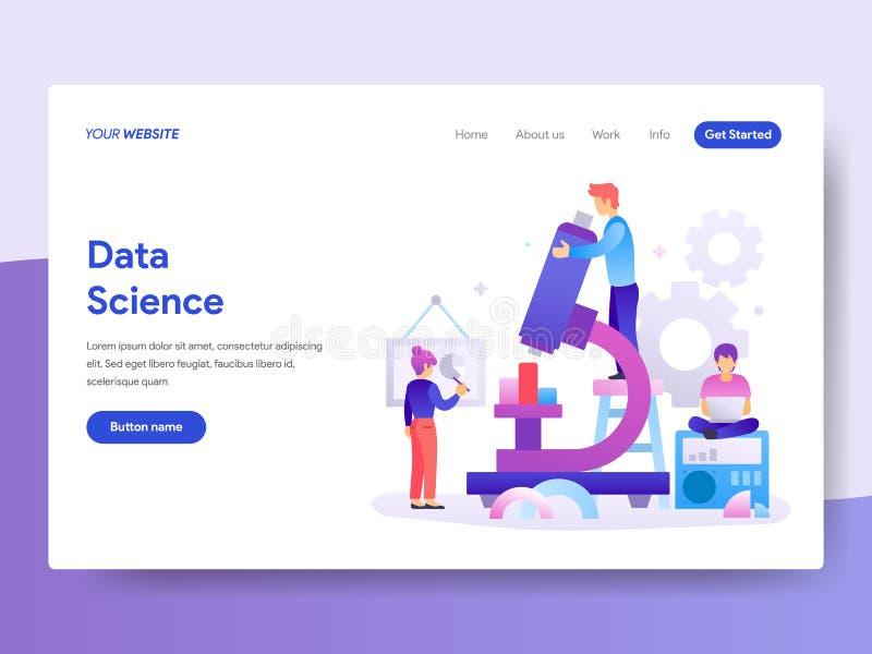 Molde de aterrissagem da página do conceito da ciência dos dados r Vetor ilustração stock