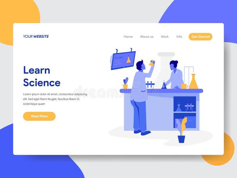 Molde de aterrissagem da página do conceito da ilustração da ciência Learn Conceito de projeto liso moderno do projeto do página  ilustração stock