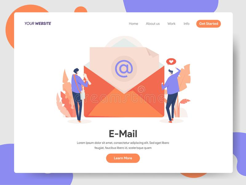 Molde de aterrissagem da página do conceito da ilustração do e-mail Conceito de projeto moderno do projeto do página da web para  ilustração do vetor