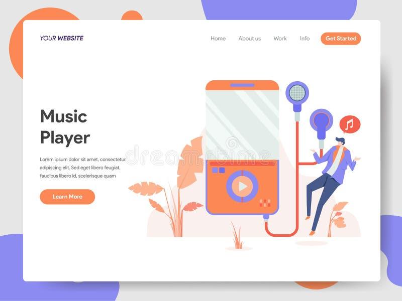 Molde de aterrissagem da página do conceito da ilustração do jogador de música Conceito de projeto moderno do projeto do página d ilustração royalty free