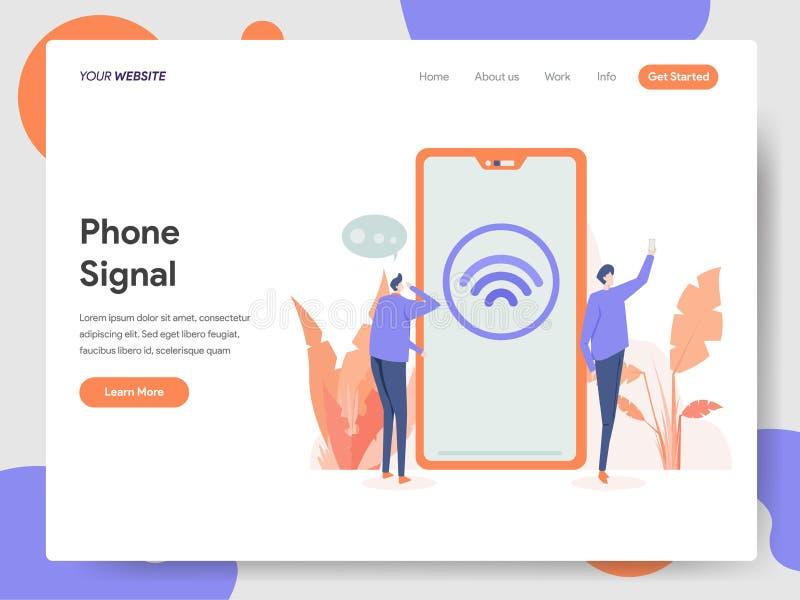 Molde de aterrissagem da página do conceito da ilustração do sinal do telefone Conceito de projeto moderno do projeto do página d ilustração royalty free