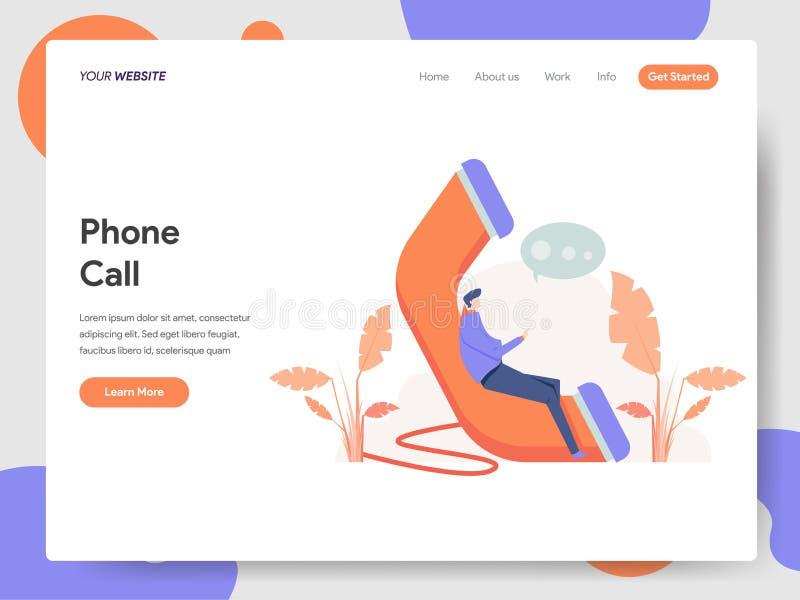 Molde de aterrissagem da página do conceito da ilustração do telefonema Conceito de projeto moderno do projeto do página da web p ilustração do vetor