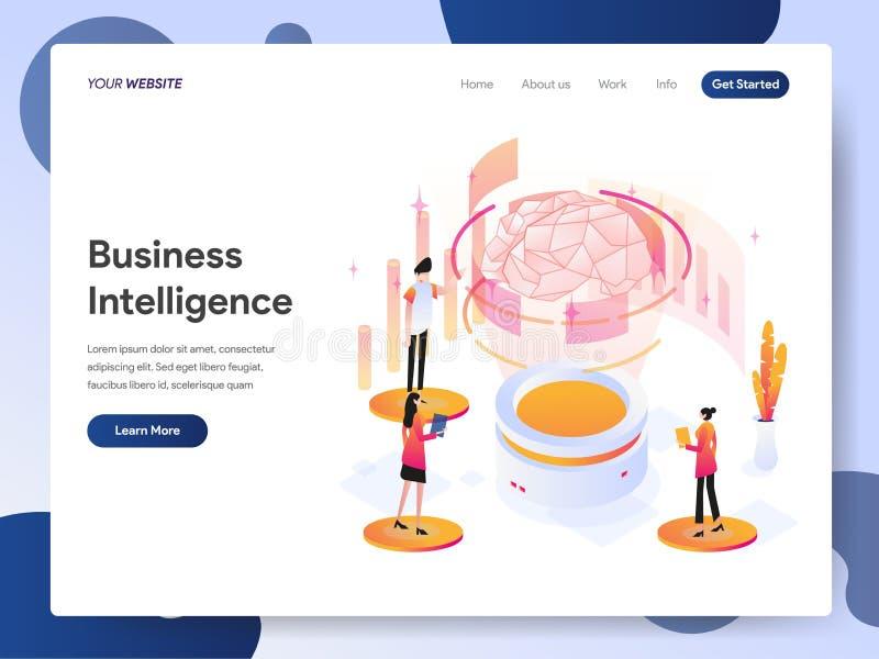 Molde de aterrissagem da página do conceito isométrico da ilustração da inteligência empresarial Conceito de projeto moderno do p ilustração stock