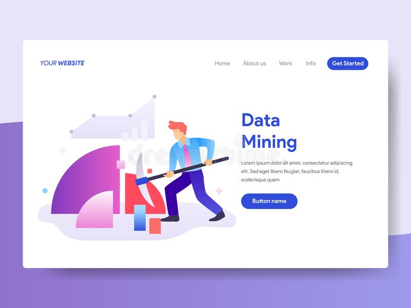 Molde de aterrissagem da página do conceito da mineração de dados r Vetor ilustração stock