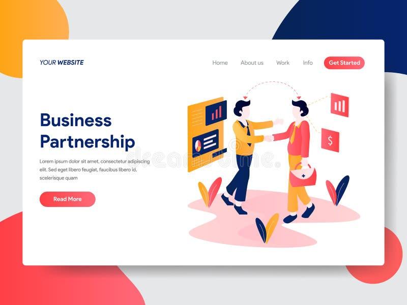 Molde de aterrissagem da página do conceito da parceria do negócio Conceito de projeto liso moderno do projeto do página da web p ilustração stock
