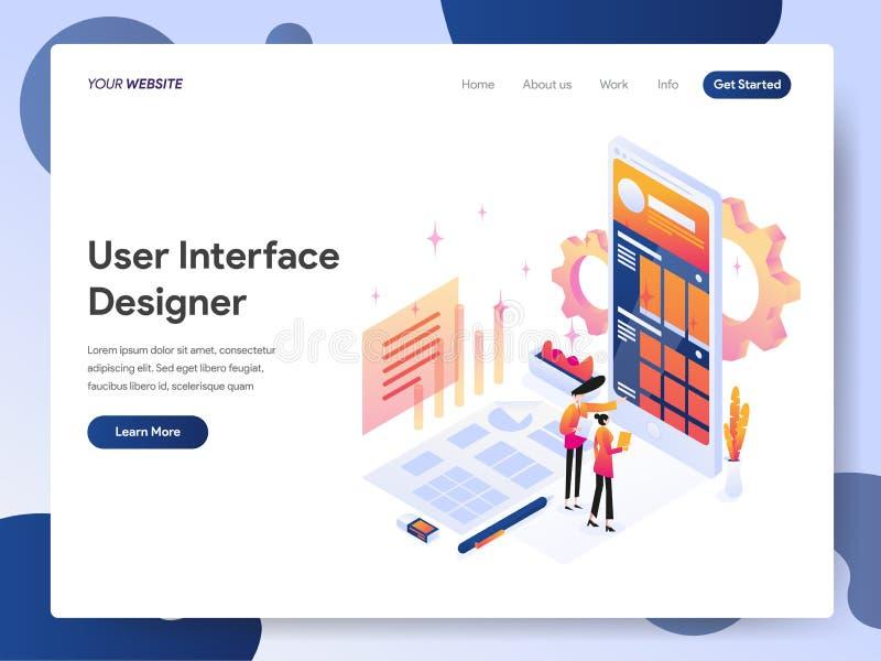 Molde de aterrissagem da página do desenhista de interface de usuário Isometric Illustration Concept Conceito de projeto moderno  ilustração royalty free