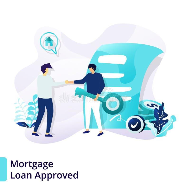 Molde de aterrissagem da página do empréstimo hipotecário aprovado Conceito de projeto liso moderno do crédito e do empréstimo po ilustração stock
