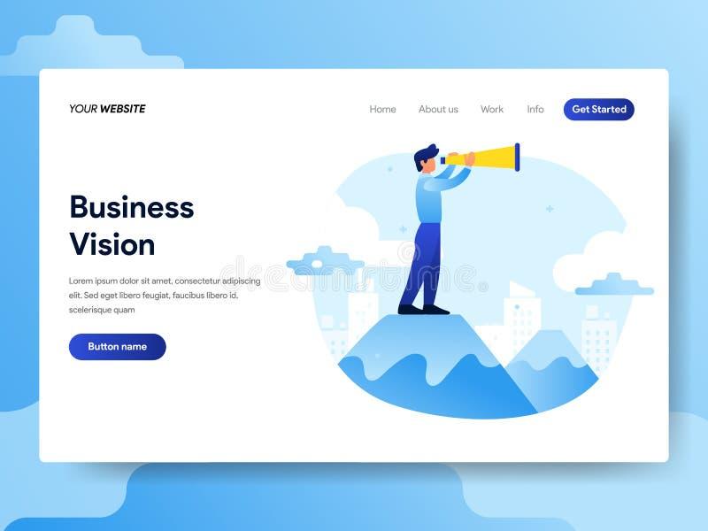 Molde de aterrissagem da página do homem de negócios com conceito da visão Conceito de projeto liso moderno do projeto do página  ilustração royalty free