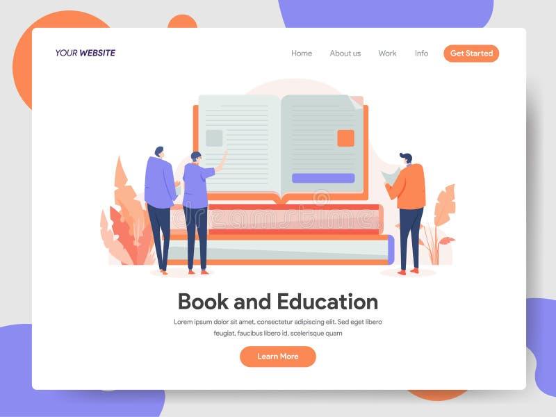 Molde de aterrissagem da página do livro e do conceito da ilustração da educação Conceito de projeto moderno do projeto do página ilustração stock
