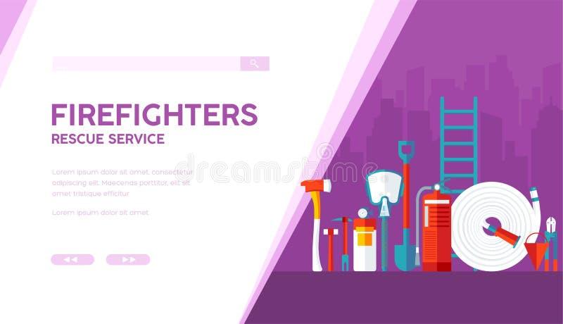 Molde de aterrissagem da página do vetor dos sapadores-bombeiros ilustração stock