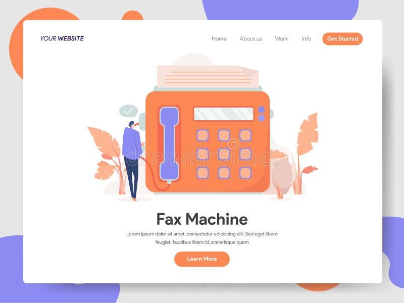 Molde de aterrissagem da página de Fax Machine Illustration Concept Conceito de projeto moderno do projeto do página da web para  ilustração do vetor