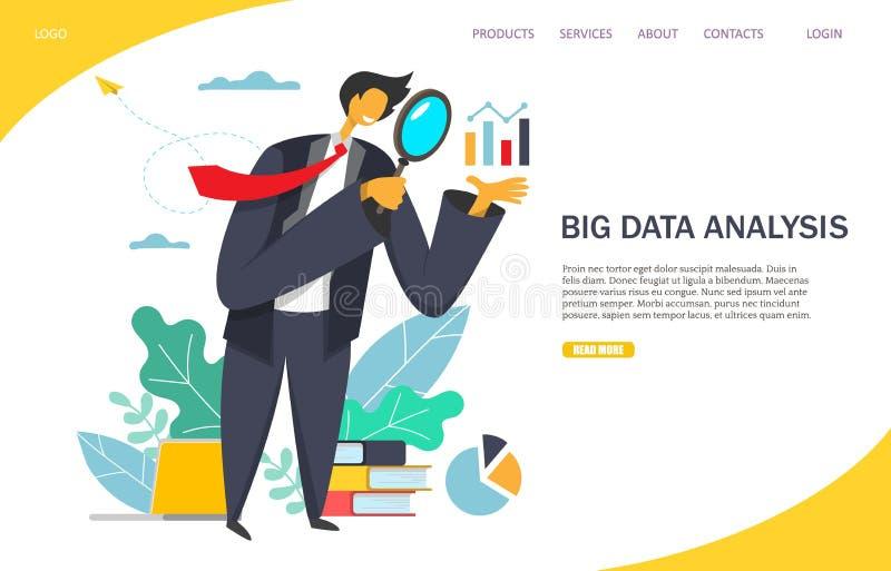 Molde de aterrissagem do projeto da página do Web site grande do vetor da análise de dados ilustração do vetor
