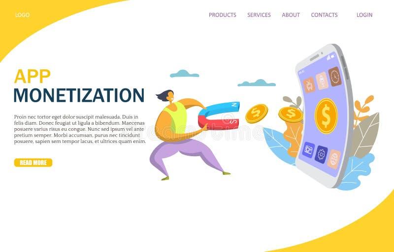 Molde de aterrissagem do projeto da página do Web site do vetor da monetização do App ilustração stock