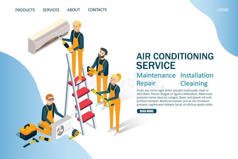 Molde de aterrissagem do projeto da página do Web site do vetor do serviço do condicionamento de ar ilustração stock