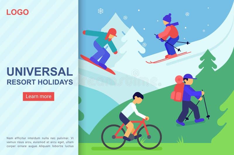 Molde de aterrissagem do vetor da página da Web sazonal dos feriados ilustração royalty free