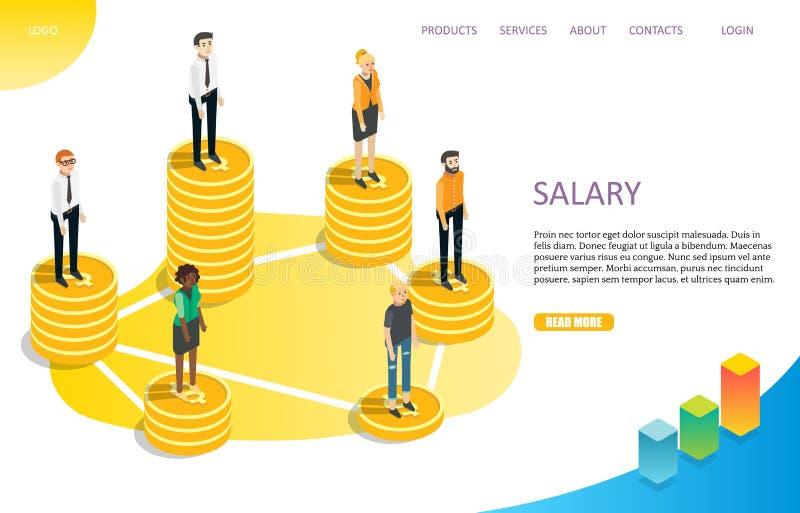 Molde de aterrissagem do vetor do Web site da página do salário do salário ilustração do vetor